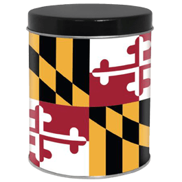 1 Quart decorative can with Maryalnd flag theme