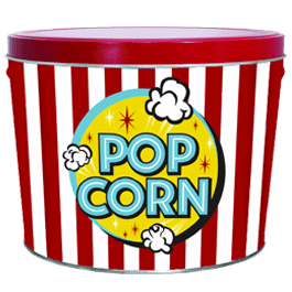 2 gallon decorative can with freshly popped pop corn theatre sign theme