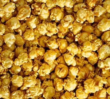 close up of bunch of caramel popcorn