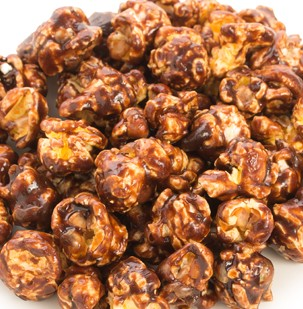 close up of bunch of cinnamon caramel popcorn